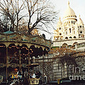 Paris Carousel Merry Go Round Montmartre - Carousel At Sacre Coeur Cathedral  by Kathy Fornal