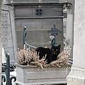 Paris Cemetery Cat - Le Chats Noir - Pere Lachaise - Black Cat On Grave Cemetery Art by Kathy Fornal