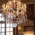 Paris Crystal Chandelier - Paris Rodin Museum Chandelier - Sparkling Crystal Chandelier Reflection by Kathy Fornal