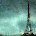 Paris Dreamy Eiffel Tower Teal Aqua Abstract Art Photo - Paris Eiffel Tower Painted Photograph by Kathy Fornal