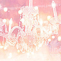 Paris Dreamy Ethereal Chandelier Art - Dreamy Pink Bokeh Sparkling Paris Chandelier Art Deco by Kathy Fornal