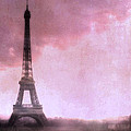Paris Dreamy Pink Eiffel Tower Abstract Art - Romantic Eiffel Tower With Pink Clouds by Kathy Fornal