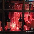 Paris Holiday Christmas Wine Window Display - Paris Red Holiday Wine Bottles Window Display  by Kathy Fornal