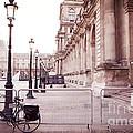 Paris Louvre Museum Street Lamps Bicycle Street Photo - Paris Romantic Louvre Architecture  by Kathy Fornal