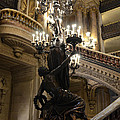 Paris Opera House Grand Staircase And Chandeliers - Paris Opera Garnier Statues And Architecture  by Kathy Fornal