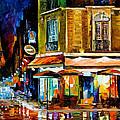 Paris-recruitement Cafe - Palette Knife Oil Painting On Canvas By Leonid Afremov by Leonid Afremov