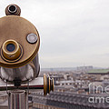 Paris Rooftops Telescope View Of Eiffel Tower - Paris Telescope Rooftop Eiffel Tower View by Kathy Fornal