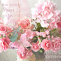 Paris Shabby Chic Dreamy Pink Peach Impressionistic Romantic Cottage Chic Paris Flower Photography by Kathy Fornal