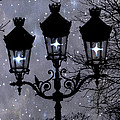 Paris Street Lights Lanterns - Paris Starry Night Dreamy Surreal Starlit Night Street Lamps Of Paris by Kathy Fornal