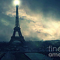 Paris Surreal Eiffel Tower Storm Clouds Sun Setting - Teal Aqua Dark Green Eiffel Tower Landscape by Kathy Fornal