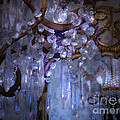 Paris Surreal Haunting Crystal Chandelier Mirrored Reflection - Dreamy Blue Crystal Chandelier  by Kathy Fornal