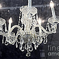 Paris Surreal Silver Crystal Chandelier - Paris Cafe Chandelier Art  by Kathy Fornal