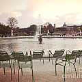 Paris Tuileries Garden Park Fountain Green Chairs - Paris Autumn Fall Tuileries - Autumn In Paris by Kathy Fornal