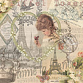 Paris Vintage Collage With Child by Mary Hubley