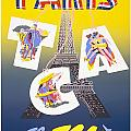 Paris Vintage Travel Poster by Jon Neidert