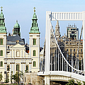 Parish Church And Elizabeth Bridge In Budapest by Artur Bogacki