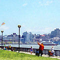 Parks - Flying A Kite At Pier A Park Hoboken Nj by Susan Savad