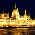 Parliament Building At Night In Budapest by Laurel Talabere