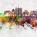 Parma Skyline In Watercolor Background by Pablo Romero
