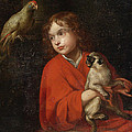 Parrot Watching A Boy Holding A Monkey by Jacob van Oost the Elder