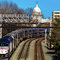 Passenger Metro Train With Us Capitol by Panoramic Images