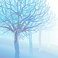 Pastel Blue Trees And Branches In Foggy by Charles Harker