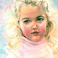 Pastel Portrait Of An Angelic Girl by Greta Corens