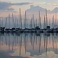 Pastel Sailboats Reflections At Dusk by Georgia Mizuleva