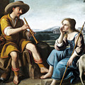 Pastoral Scene With A Shepherd Family Against A Countryside Background by Circle of Abraham Bloemaert