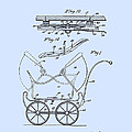 Patent Art Robinson Baby Carriage Blue by Lesa Fine
