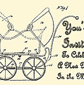 Patent Art Robinson Baby Carriage Invite Yellow by Lesa Fine