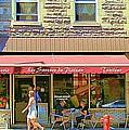 Patisserie Les Saveurs Du Plateau Pique Nique Et Emporter Montreal Cafe Scene Art By Carole Spandau  by Carole Spandau