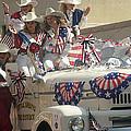 Patriotic Cowgirls Firetruck July 4th Parade Prescott Arizona 2002 by David Lee Guss