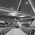 Paul Revere Park And The Zakim Bridge Bw by Susan Candelario