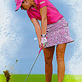 Paula Creamer In Actionon The Evian Masters by Don Kuing