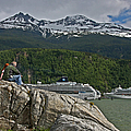 Pause In Wonder At Cruise Ships In Alaska by John Haldane