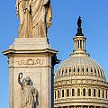 Peace Monument And Capitol by John Greim