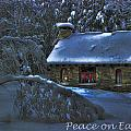 Peace On Earth Holiday Card Moonlight On Stone House.  by Wayne King