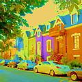 Peaceful Painted Pastel Rowhouses Printemps Plateau Montreal Scene Du Rue Carole Spandau by Carole Spandau
