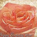 Peach Rose Happy Birthday Mom Card by Debbie Portwood