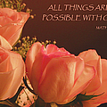 Peach Roses With Scripture by Sandi OReilly