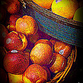 Peaches And Citrus With Blue Wooden Basket by Miriam Danar