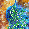 Peacock Abstract Bird Original Painting In Bloom By Madart by Megan Duncanson