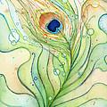 Peacock Feather Watercolor by Olga Shvartsur