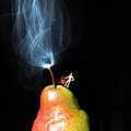 Pear And Smoke Little People On Food by Paul Ge