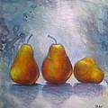 Pears On Blue Original Acrylic Painting by Chris Hobel