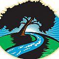 Pecan Tree Winding River Sunrise Retro by Aloysius Patrimonio