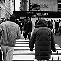 Pedestrians Crossing Crosswalk Carrying Luggage On Seventh 7th Ave Avenue by Joe Fox