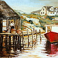 Peggy's Cove Nova Scotia Fishing Village With Red Boat by Carole Spandau