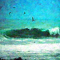 Pelicans Enjoying The Mighty Pacific Impressionism by Joyce Dickens